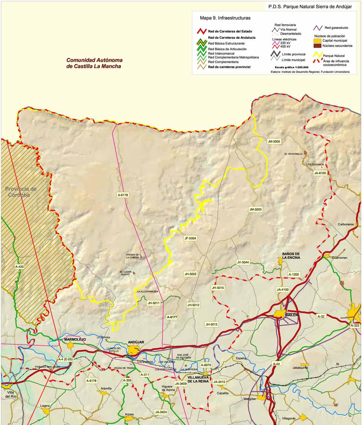 SIERRA DE ANDUJAR-PLANO INFRAESTRUCTURAS