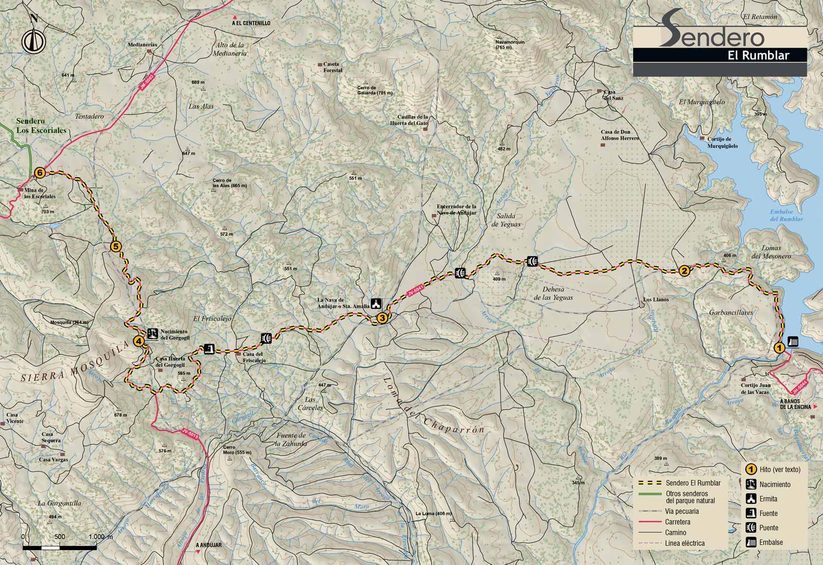 Plano-sendero-El-Rumblar-Sierra-de-Andujar