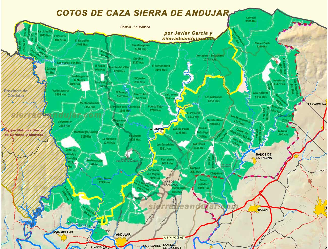 Plano cotos de caza Sierra de Andújar