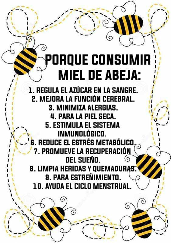 Listado beneficios de la miel